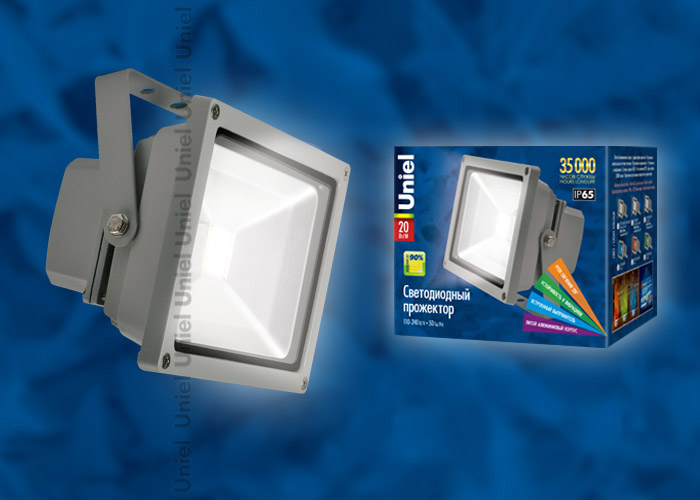 Прожектор светодиодный ULF-S01-20W/DW  110-240В Корпус серый. Цвет свечения дневной. Степень защиты IP65