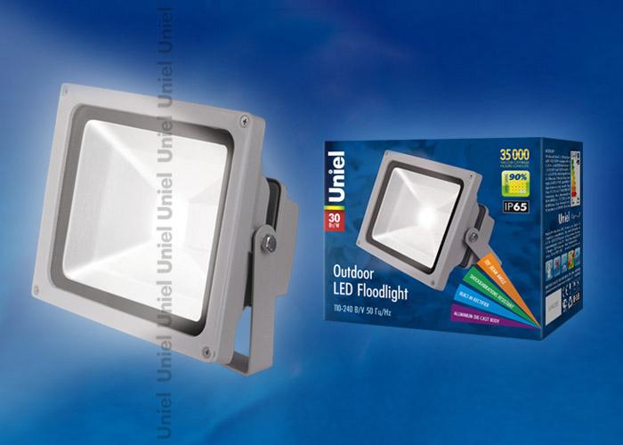 Прожектор светодиодный ULF-S01-30W/DW Корпус серый. Цвет свечения дневной. Степень защиты IP65