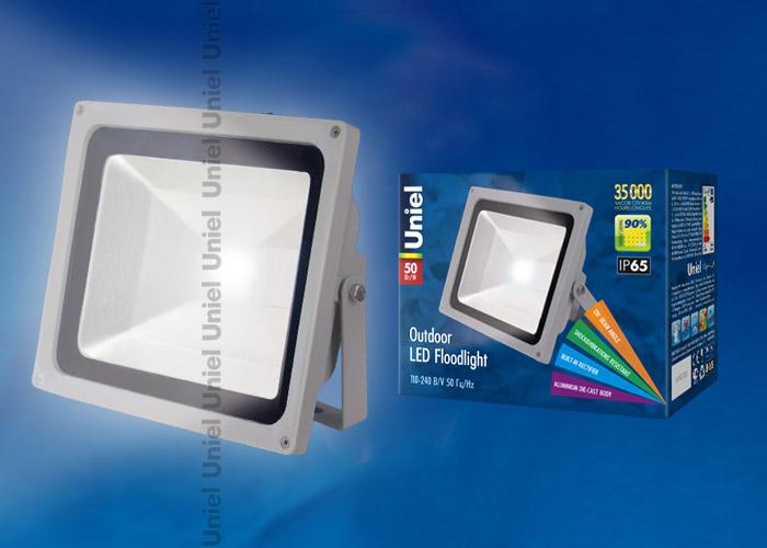 Прожектор светодиодный ULF-S01-50W/DW 110-240В Корпус серый. Цвет свечения дневной. Степень защиты IP65