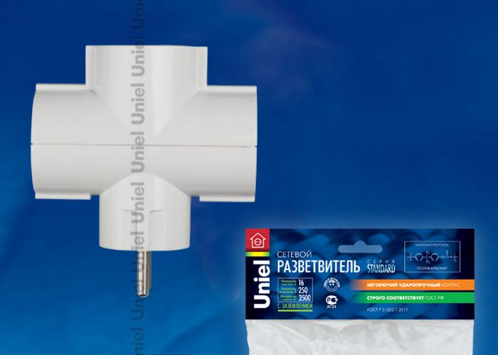Разветвитель сетевой Uniel S-GES3-16T , количество розеток – 3, Максимальный ток - 16А, Максимальная мощность нагрузки – 3500Ватт, заземление