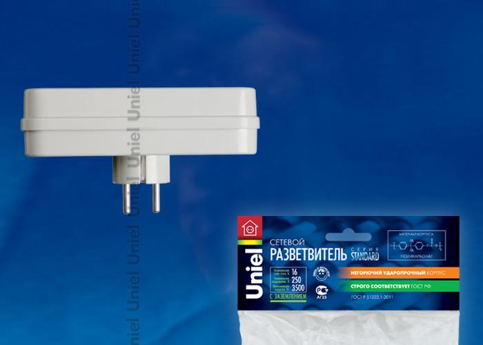 Разветвитель сетевой Uniel S-GES3-16P , количество розеток – 3, Максимальный ток - 16А, Максимальная мощность нагрузки – 3500Ватт, заземление, упаковка – пакет