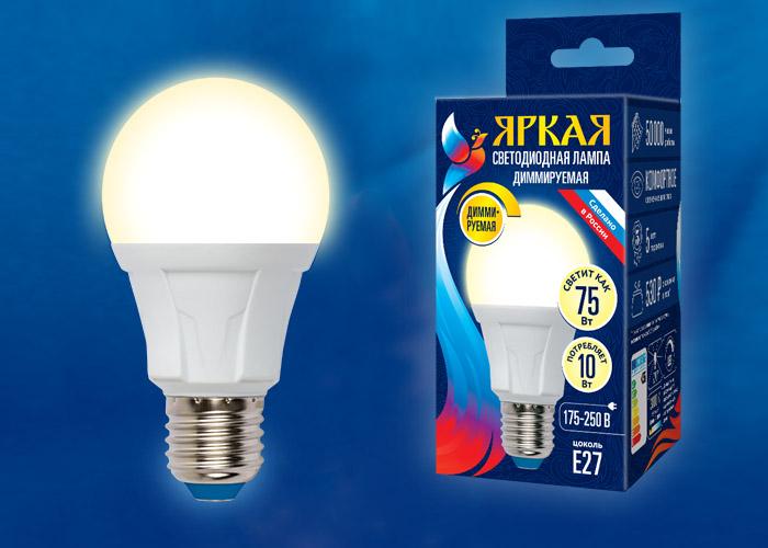 LED-A60 10W/3000K/E27/FR/DIM PLP01WH картон - фото 49254