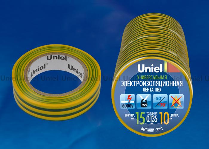 Изоляционная лента Uniel UIT-135P 10/15/10 YGR 10 м, 15 мм, 0,135 мм, 10 шт, цвет Желто-Зеленый