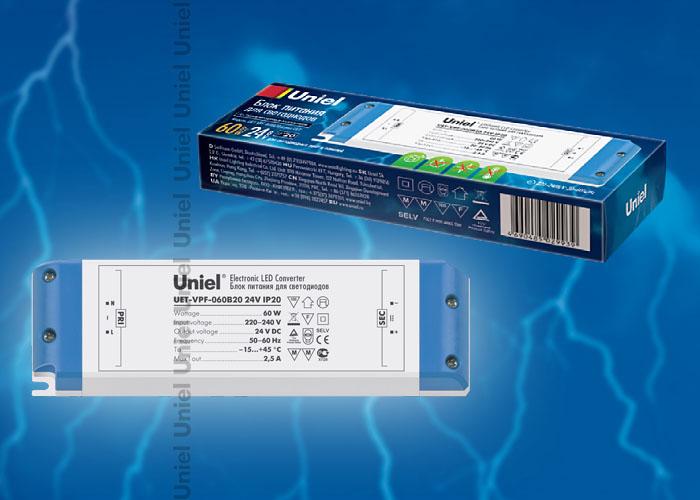 Блок питания UET-VPF-060B20 для светодиодов с защитой от короткого замыкания и перегрузок, 60 Вт, 24В, IP20