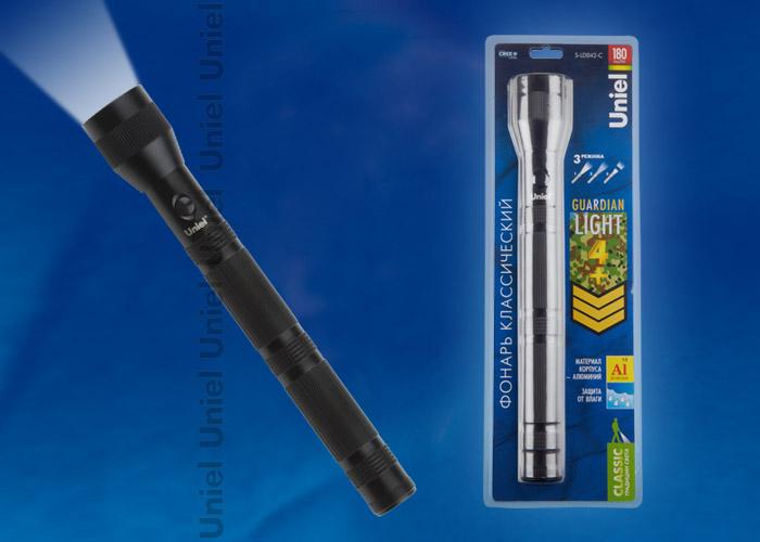 """Фонарь Uniel S-LD042-C Black серии Стандарт """"""""Guardian Light – 4+"""""""", алюминиевый корпус, 3 Watt Led, упаковка – кламшелл, 4ХD н/к, цвет – черный"""