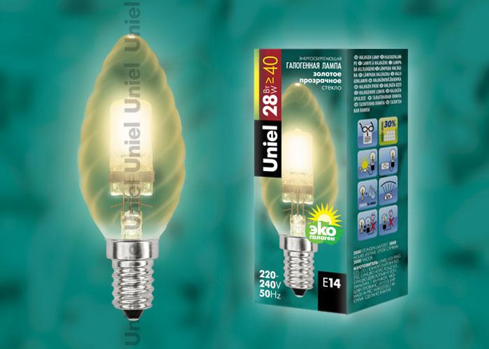 """Лампа галогенная HCL-28/CL/E14 candle twisted gold обладает цоколем E14 и мощностью в 28 вт., имеет прозрачную золотистую витую колбу. Форма """"""""свеча"""""""""""