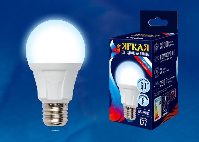 LED-A60 8W/DW/E27/FR PLP01WH картон - фото 48136