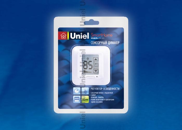Выключатель с регулятором USW-001-LCD-DM-40/500W-TM-M-WH яркости лампы (диммер) и таймером выключения. Сенсорная панель. Блистер. Цвет — белый