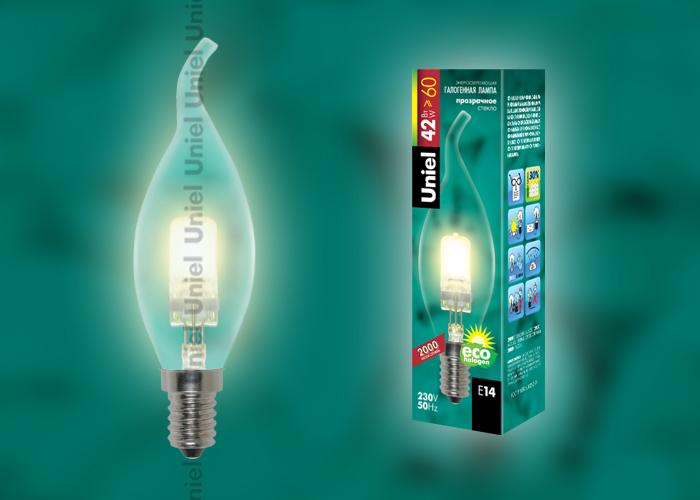 """Лампа галогенная Uniel HCL-42/CL/E14 flame обладает цоколем E14 и мощностью в 42 вт., имеет прозрачную колбу. Форма """"""""свеча на ветру"""""""""""