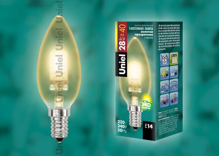 """Лампа галогенная HCL-28/CL/E14 candle gold обладает цоколем E14 и мощностью в 28 вт., имеет прозрачную золотистую колбу. Форма """"""""свеча"""""""""""