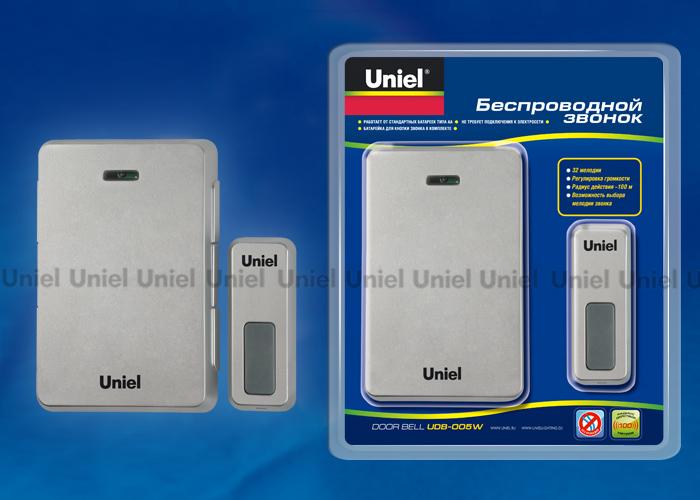 Звонок беспроводной UDB-005W-R1T1-32S-100M-SL  32 мелодии. Цвет — серебристый