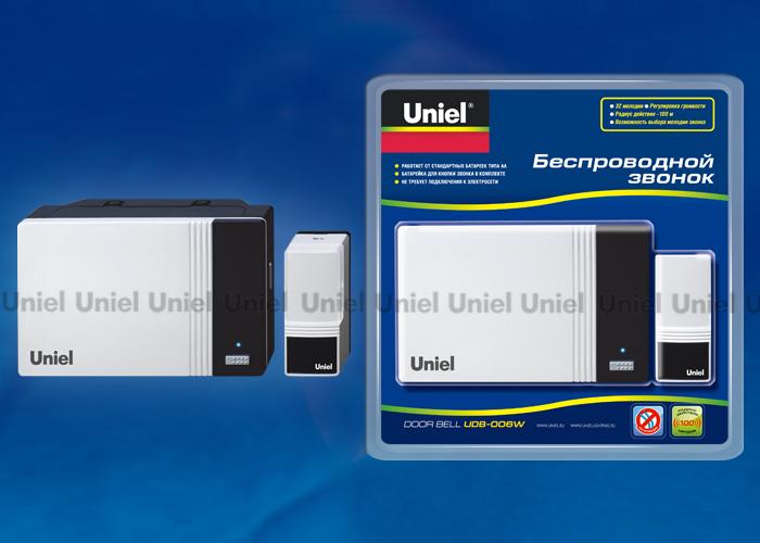 Звонок беспроводной UDB-006W-R1T1-32S-100M-WH 32 мелодии. Цвет — белый