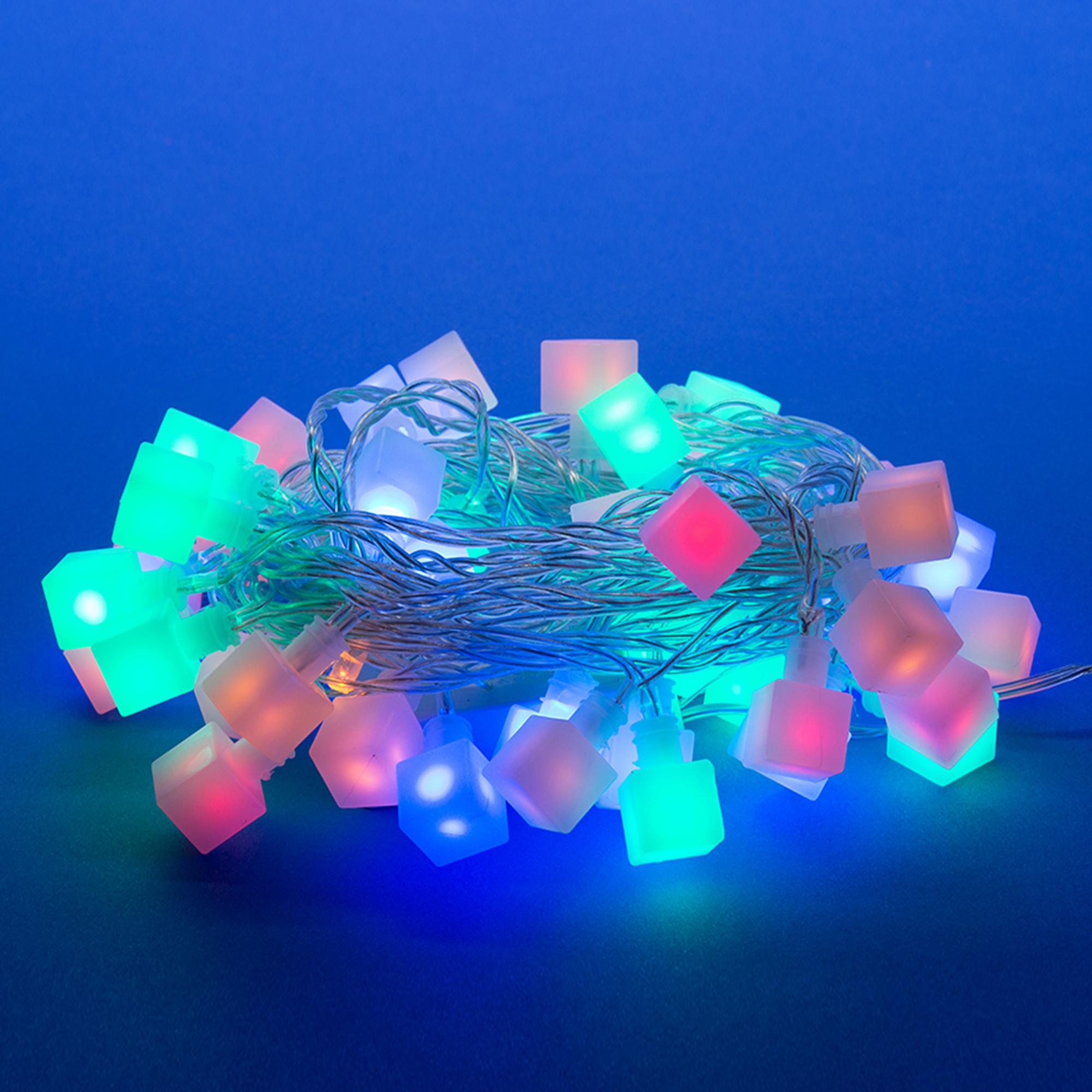 Гирлянда светодиодная с контроллером ULD-S0700-050/DTA Кубики, 50 светодиодов, 7 м, разноцветная, IP20,провод прозрачный