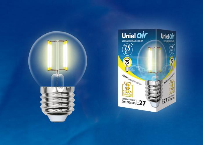 LED-G45-7,5W/WW/E27/CL GLA01TR картон - фото 48593