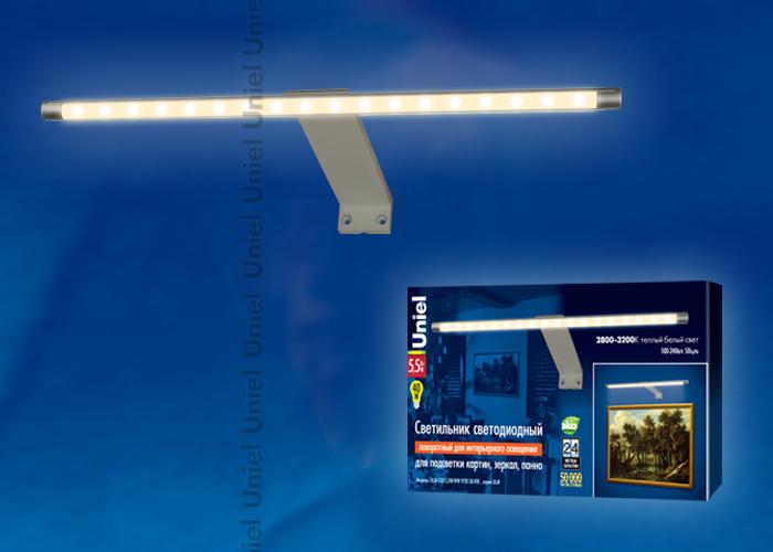 Светильник светодиодный ULM-F32-5,5W/WW IP20 SILVER поворотный для интерьерного освещения. В комплекте с адаптером. Длина 32,5 см. Материал корпуса алюминий, цвет серебро