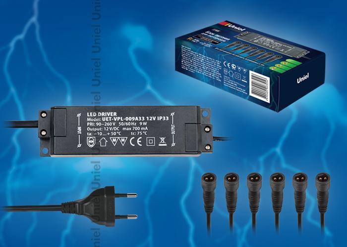 Блок питания UET-VPL-009А33 12V IP33 для светодиодов с вилкой, влагозащищенным кабелем и 6 коннекторами. Мощность 9W, напряжение 12V, IP33