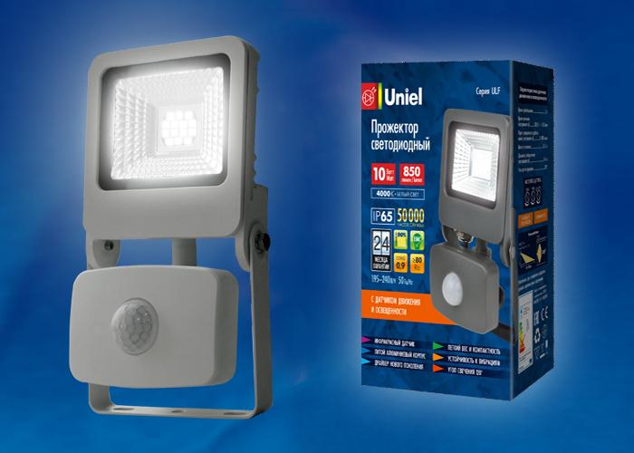 ULF-F37-10W/NW SENSOR IP54 195-240В SILVER картон - фото 48468