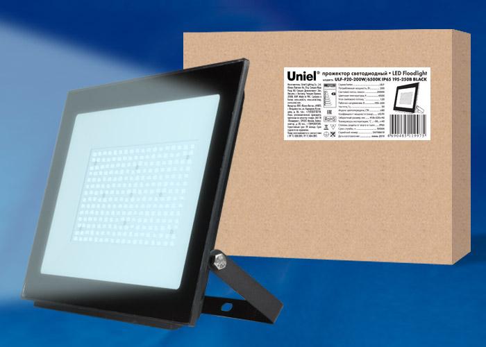 ULF-F20-200W/6500K IP65 195-250В BLACK - фото 49123