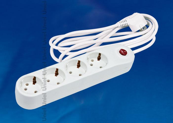 Фильтр сетевой Uniel S-GSP4-3C  серии стандарт Classic, с/з, 4 гн., шнур 3 м, защита от перенапряжения, кз, импульсных помех, цвет – белый