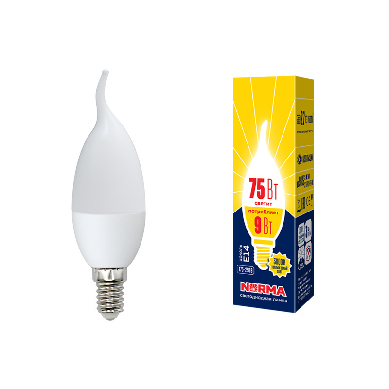 LED-CW37-9W/WW/E14/FR/NR картон - фото 48748