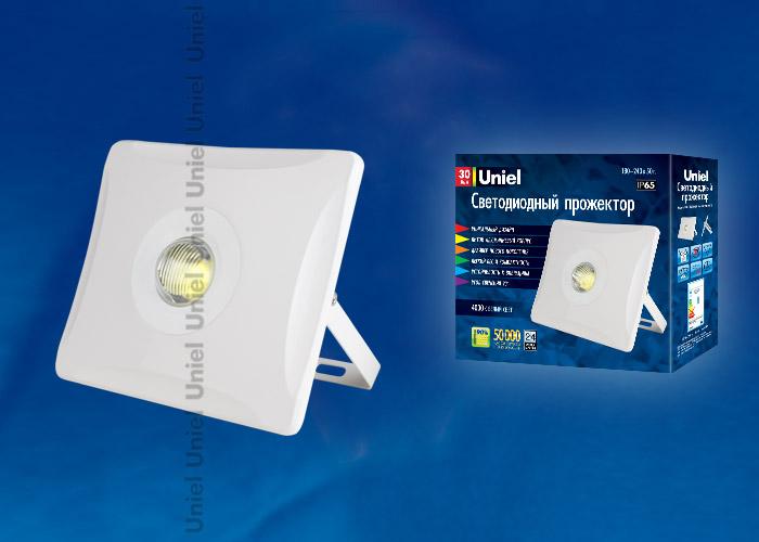 Прожектор светодиодный ULF-F11-30W/NW IP65 180-240В WHITE . Корпус белый. Белый свет. Упаковка картон. TM Uniel.