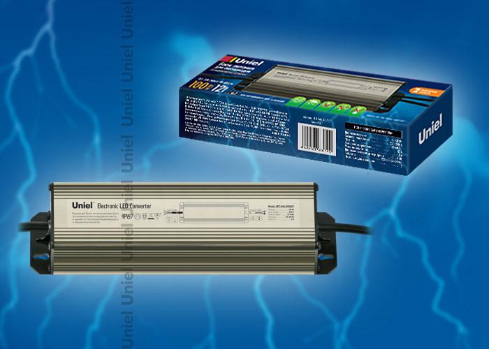 Блок питания UET-VAL-100A67 для светодиодов с защитой от короткого замыкания и перегрузок, алюминиевый корпус, 100Вт, 12В, IP67, 2 выходных канала
