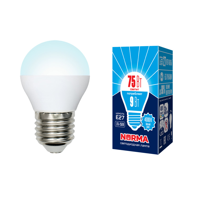 LED-G45-9W/NW/E27/FR/NR картон - фото 48508