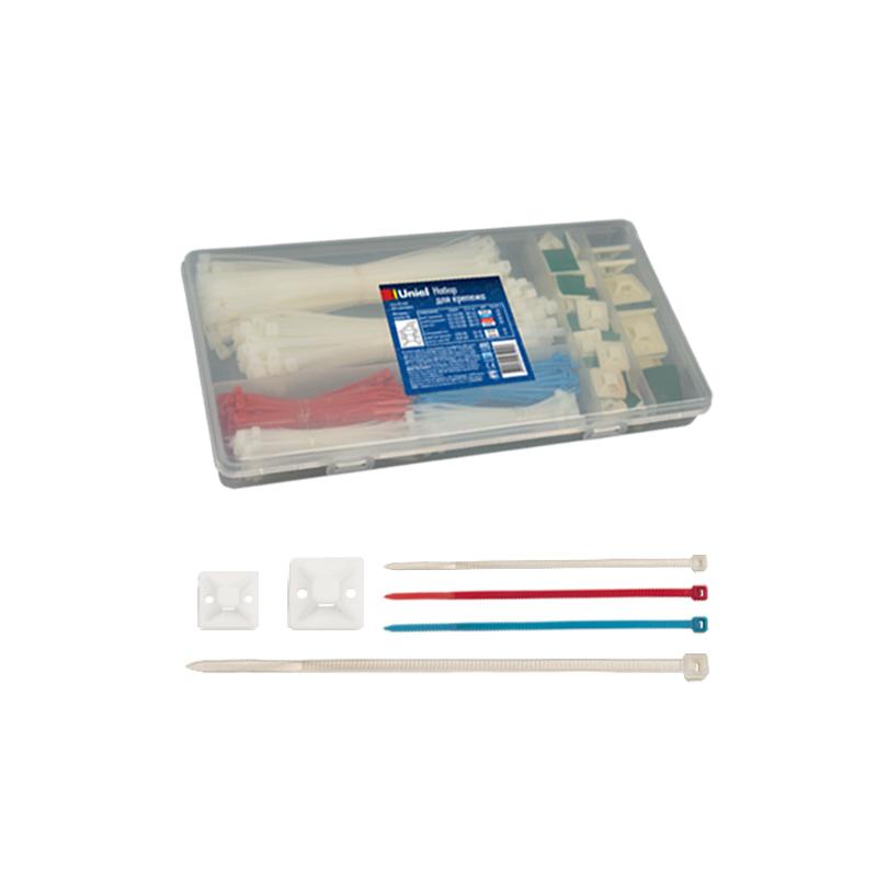 Набор для крепежа Uniel UCA-R01 MIX 490 CONTAINER (Хомут нейлоновый, 4,5*190 мм, белый, 150 шт; Хомут нейлоновый, 2,5*100 мм, синий, 100 шт; Хомут нейлоновый, 2,5*100 мм