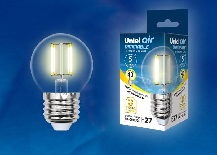 LED-G45-5W/WW/E27/CL/DIM GLA01TR картон - фото 48472