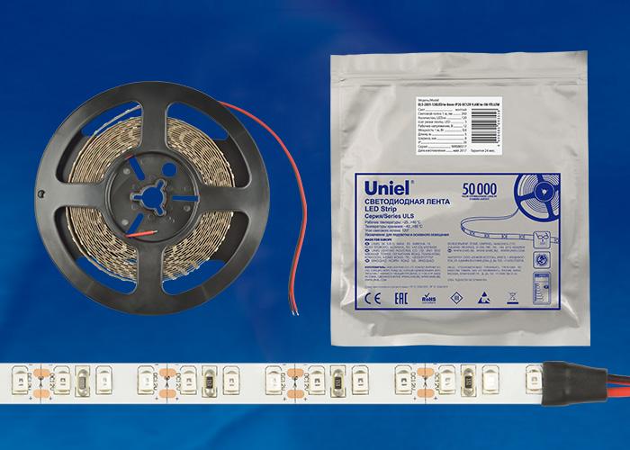 ULS-2835-120LED/m-8mm-IP20-DC12V-9,6W/m-5M-YELLOW катушка в герметичной упаковке - фото 48268