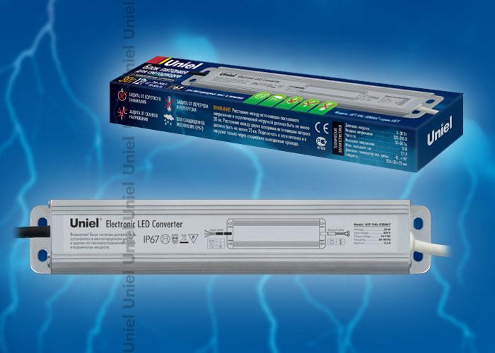 Блок питания UET-VAJ-030A67 для светодиодов с защитой от короткого замыкания и перегрузок, алюминиевый корпус, 30Вт, 12В, IP67
