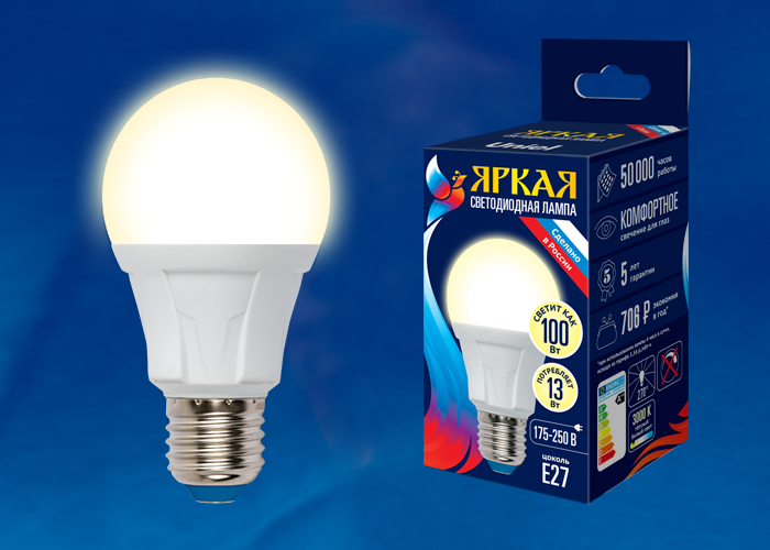 LED-A60 13W/3000K/E27/FR PLP01WH картон - фото 49038