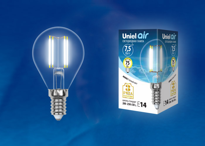 LED-G45-7,5W/NW/E14/CL GLA01TR картон - фото 48425