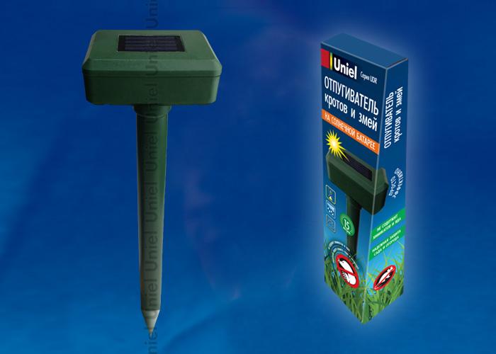 Устройство для отпугивания кротов и змейUDR-S50 SOL GREEN , на солнечной батарее. Изменяющаяся частота вибрации. Аккумулятор в/к.  IP44. Зеленый. TM Uniel.