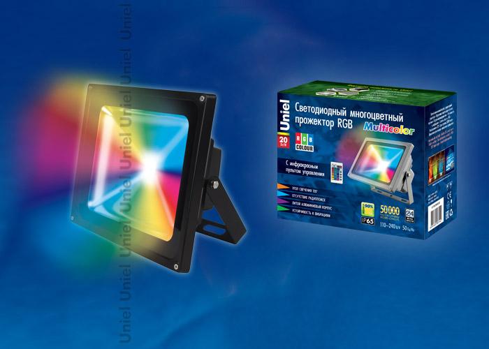 ULF-S01-20W/RGB/RC IP65 110-240В Прожектор светодиодный с пультом ДУ. Мультиколор. Корпус серый. Упаковка картон. TM Uniel.