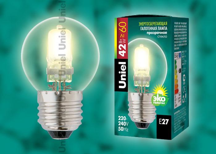 """Лампа галогенная Uniel HCL-42/CL/E27 globe обладает цоколем E27 и мощностью в 42 вт., имеет прозрачную колбу. Форма """"""""глоба"""""""""""