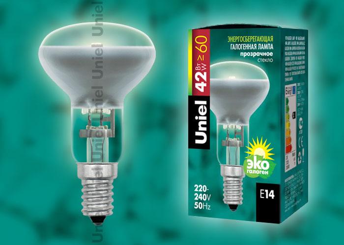 """Лампа галогенная Uniel HCL-42/CL/E14 Reflector обладает цоколем E14 и мощностью в 42 вт., имеет прозрачную колбу. Форма """"""""рефлектор"""""""""""