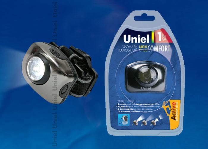 Фонарь Uniel  S-HL011-C Gun Metal серии Стандарт Bright eyes — comfort (налобный фонарь), алюминиевый корпус, 1 LED, упаковка — кламшелл, 3хААА н/к