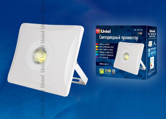 Прожектор светодиодный ULF-F11-50W/NW IP65 180-240В WHITE . Корпус белый. Белый свет. Упаковка картон. TM Uniel.