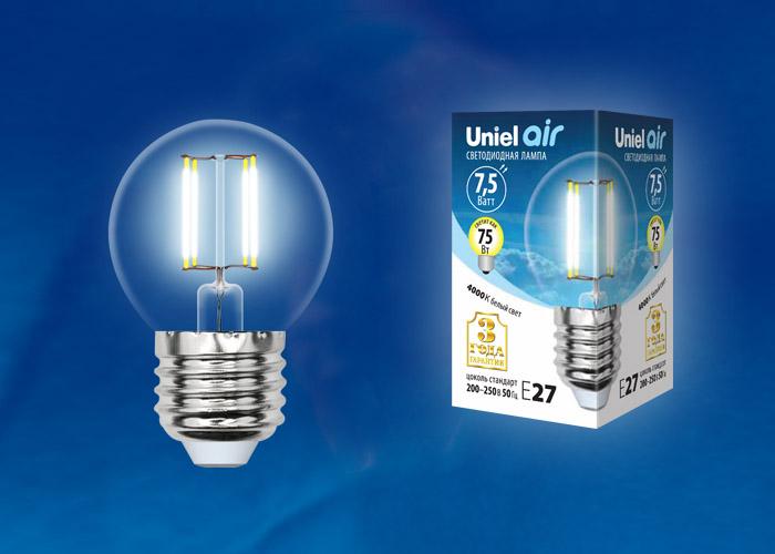 LED-G45-7,5W/NW/E27/CL GLA01TR картон - фото 48471