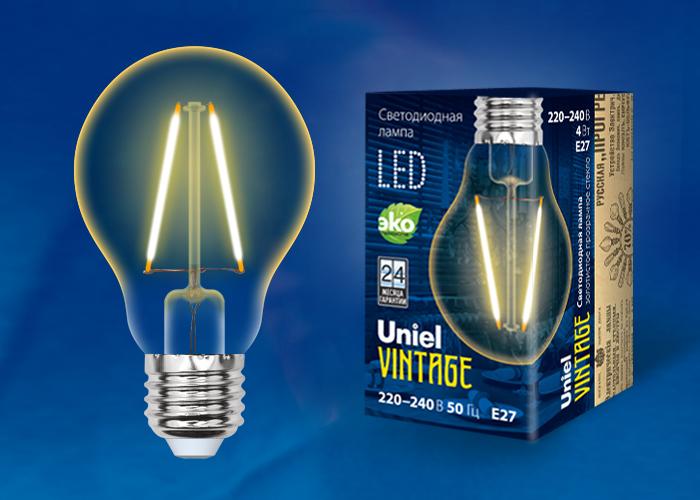 LED-A67-4W/GOLDEN/E27 GLV21GO Лампа светодиодная Vintage. Форма A, золотистая колба. Картон. ТМ Uniel