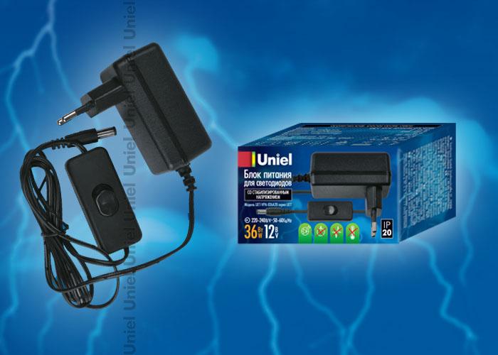 Блок питания UET-VPA-036A20 для светодиодов с вилкой, 36 Вт, 12В, IP20
