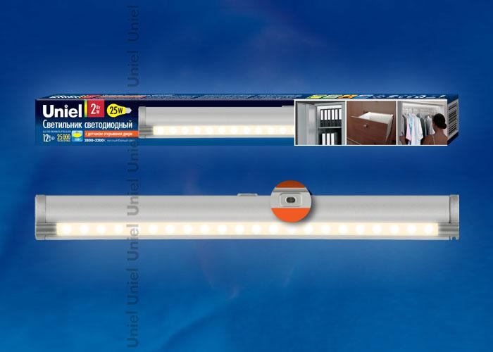 Светодиодный светильник ULE-F02-2W/WW/OS IP20 SILVER с датчиком открывания двери. Длина 27,5 см. Материал корпуса алюминий, цвет серебро. Теплый белый свет.