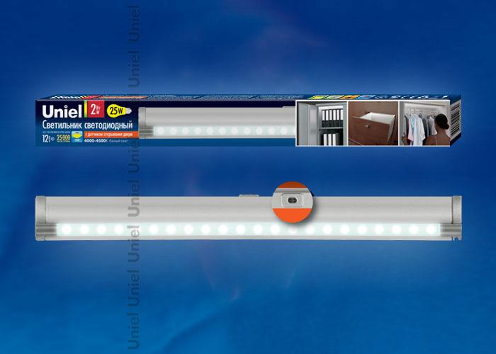 Светодиодный светильник ULE-F02-2W/NW/OS IP20 с датчиком открывания двери. Длина 27,5 см. Материал корпуса алюминий, цвет серебро. Белый свет.