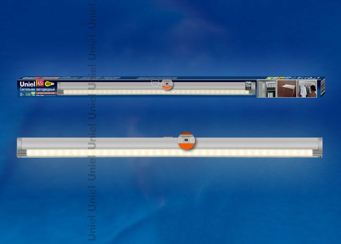 Светодиодный светильник ULE-F02-4,5W/WW/OS IP20 с датчиком открывания двери. Длина 59,5 см. Материал корпуса алюминий, цвет серебро. Теплый белый свет.