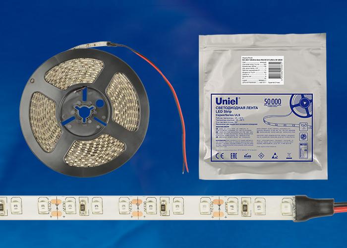 ULS-2835-120LED/m-8mm-IP65-DC12V-9,6W/m-5M-GREEN катушка в герметичной упаковке - фото 48313