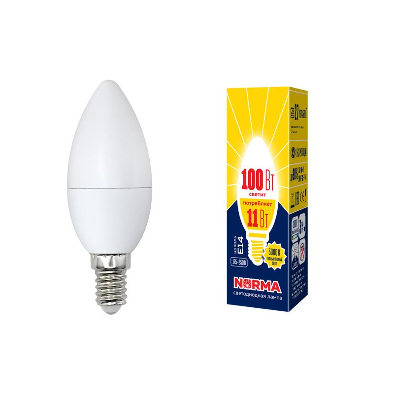 LED-C37-11W/WW/E14/FR/NR картон - фото 48599
