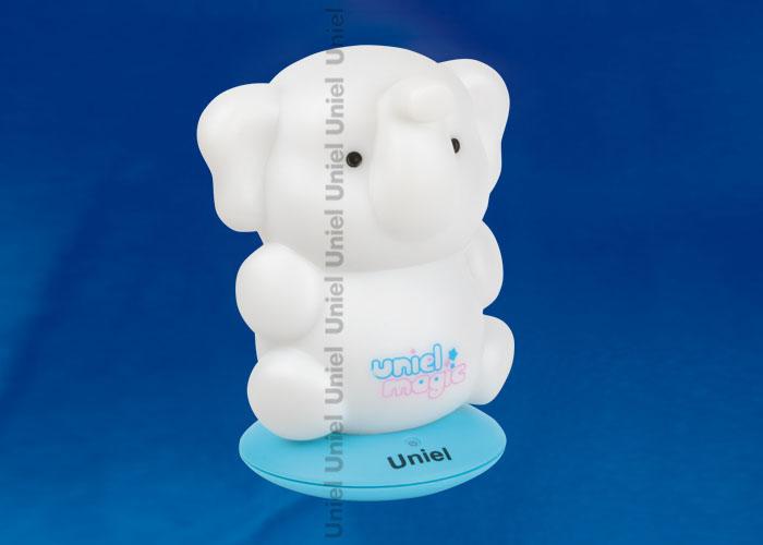 Светильник-ночник с аккумулятором DTL-305-Слоненок/3color/Base blue/Rech пластик с светодиодом мощностью 0.5 вт. Пластиковый корпус синего  цвета