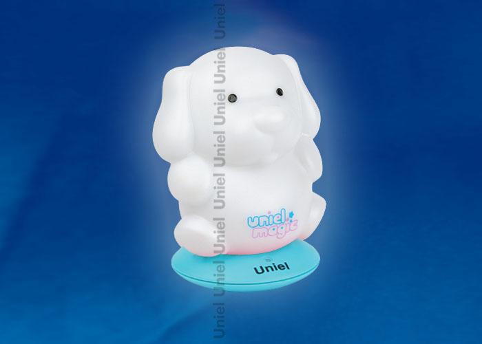 Светильник-ночник с аккумулятором DTL-305-Собачка/3color/Base blue/Rech пластик с светодиодом мощностью 0.5 вт. Пластиковый корпуссинего  цвета