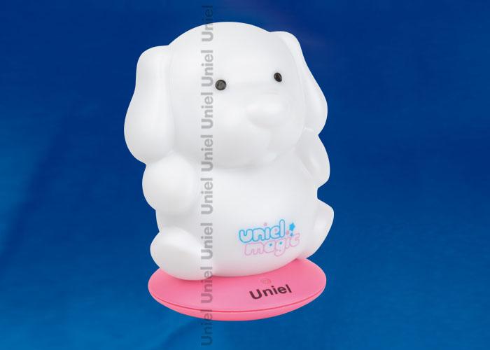 Светильник-ночник с аккумулятором DTL-305-Собачка/3color/Base pink/Rech пластик с светодиодом мощностью 0.5 вт. Пластиковый корпус розового  цвета